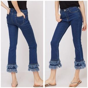 Denim - Cropped High Waist Jeans Denim Tiered Grommets